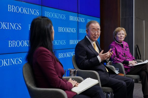 On January 24, Foreign Policy at Brookings hosted former U.N. Secretary-General Ban Ki-moon and former Irish President Mary Robinson for an Alan and Jane Batkin International Leaders Forum addressing the climate crisis and its implications. In their respective international leadership roles, Ban and Robinson have been prominent advocates of bringing climate change to the top of the global agenda, promoting sustainable development and highlighting how environmental degradation has disproportionately affected people in developing countries, especially women.nnBrookings Vice President and Director of Foreign Policy Bruce Jones provided introductory remarks. Following remarks by Ban and Robinson, Brookings Senior Fellow and the SK-Korea Foundation Chair in Korea Studies Jung H. Pak joined them on stage for a conversation on climate change, human rights, adaptation measures, and global leadership in the face of a climate emergency.